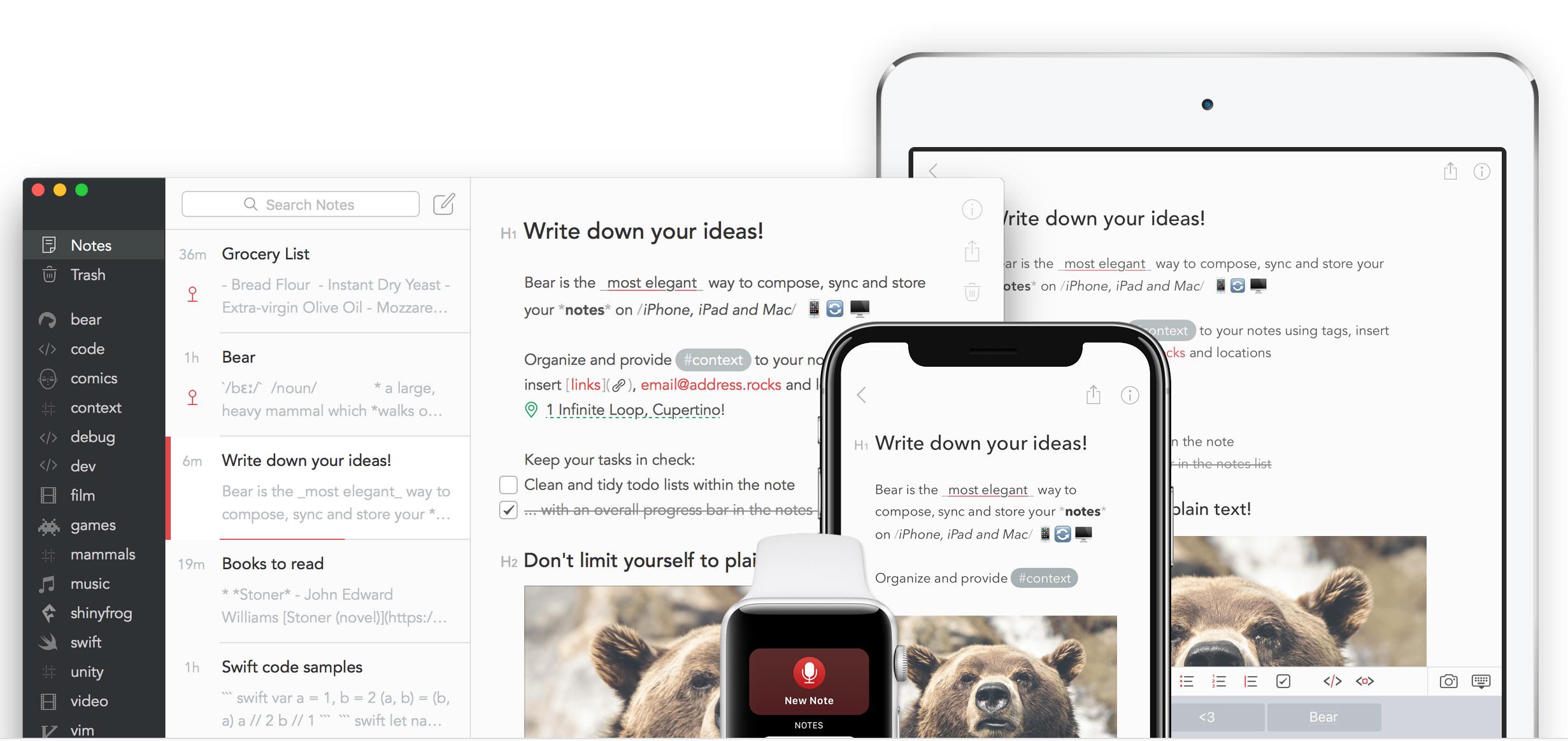 Bear App gestion des taches