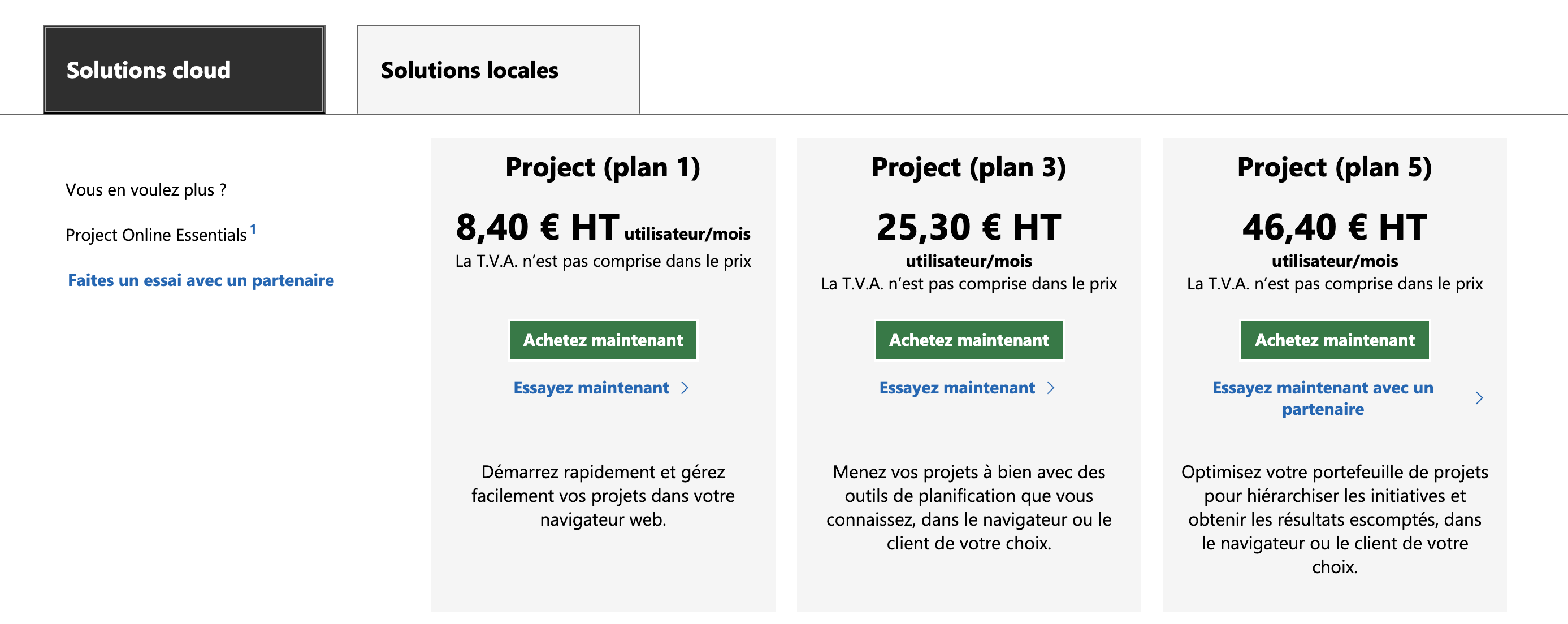 Prix Microsoft Project